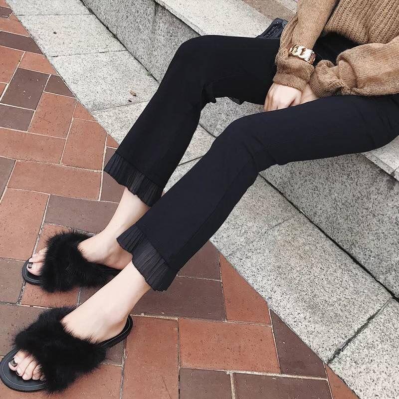 2020 Trousers Women High Waist Bell Bottom Metal Ring Flare Pants Wide Leg Pants Big Plus Size XL Black White Female Capris C32