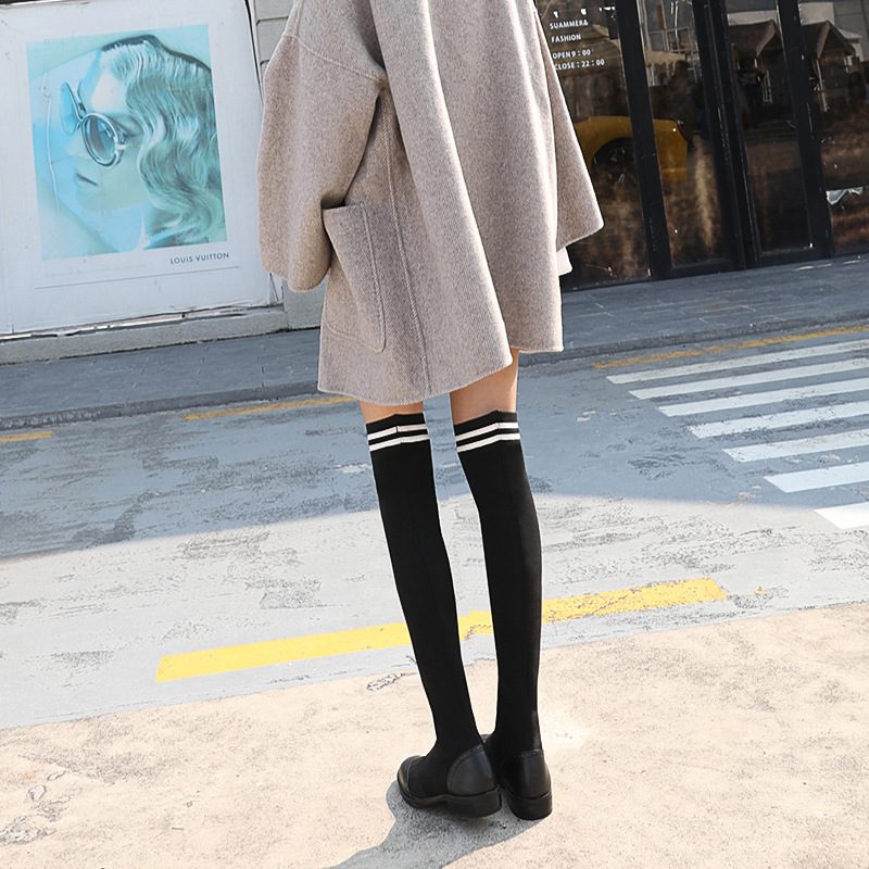 все цены на Autumn new flat Genuine Leather women's shoes winter new long tube women's boots wild over the knee boots elastic socks boots.