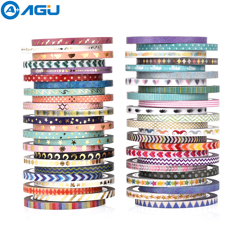 AAGU 48PCS Skinny Decorative Washi Tape Set Adhesive Scrapbooking Album Decoration Paper Tape DIY Office Supplies