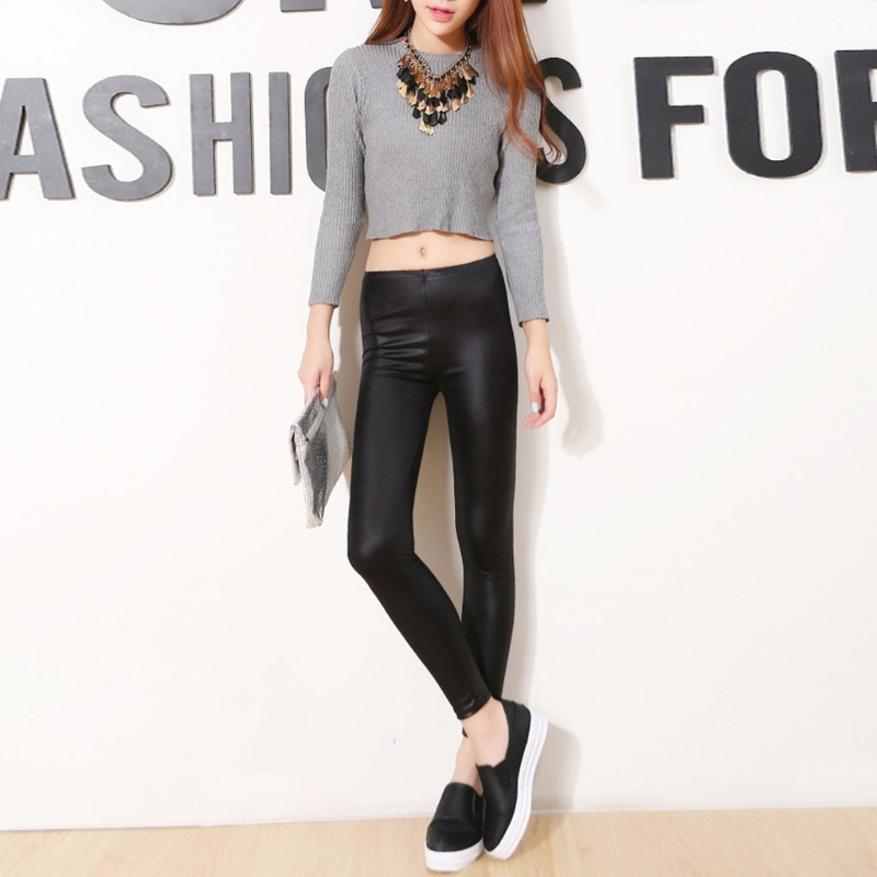 KLV Thin Leggings Push-Up Elastic Stretchy Sexy Women Casual Fashion Cropped