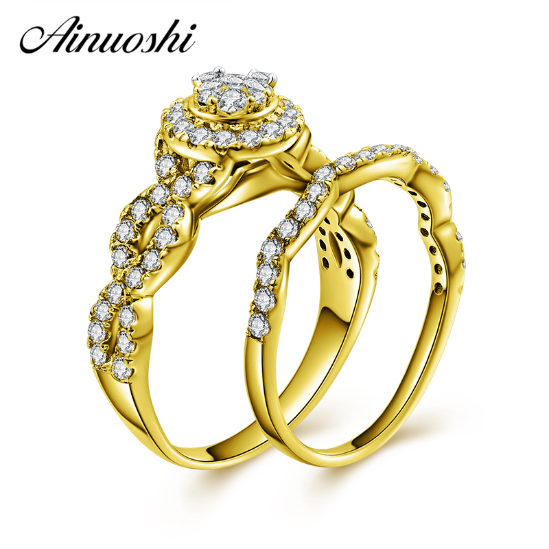 AINUOSHI 10k Solid Yellow Gold Bridal Halo Ring Set Round Cut Top SONA Diamond Engagement Wedding Weaving Ring Set Jewelry Gift