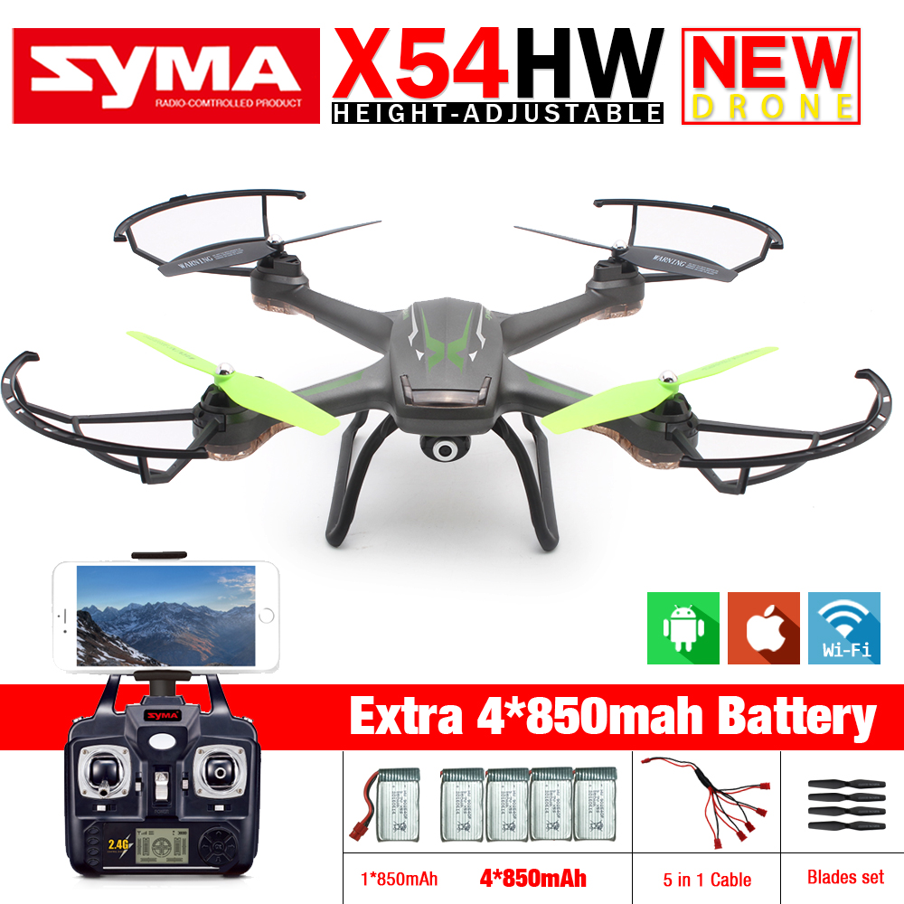 New Syma X54HW FPV RC Drone with WIFI Camera 2.4G 6-Axis Dron RC Helicopter Quadcopter Toys VS Syma X5SW with 5 battery rc drone u818a updated version dron jjrc u819a remote control helicopter quadcopter 6 axis gyro wifi fpv hd camera vs x400 x5sw