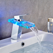 Temperature control three-color LED light glass faucet Square waterfall basin above counter basin hot and cold water faucet