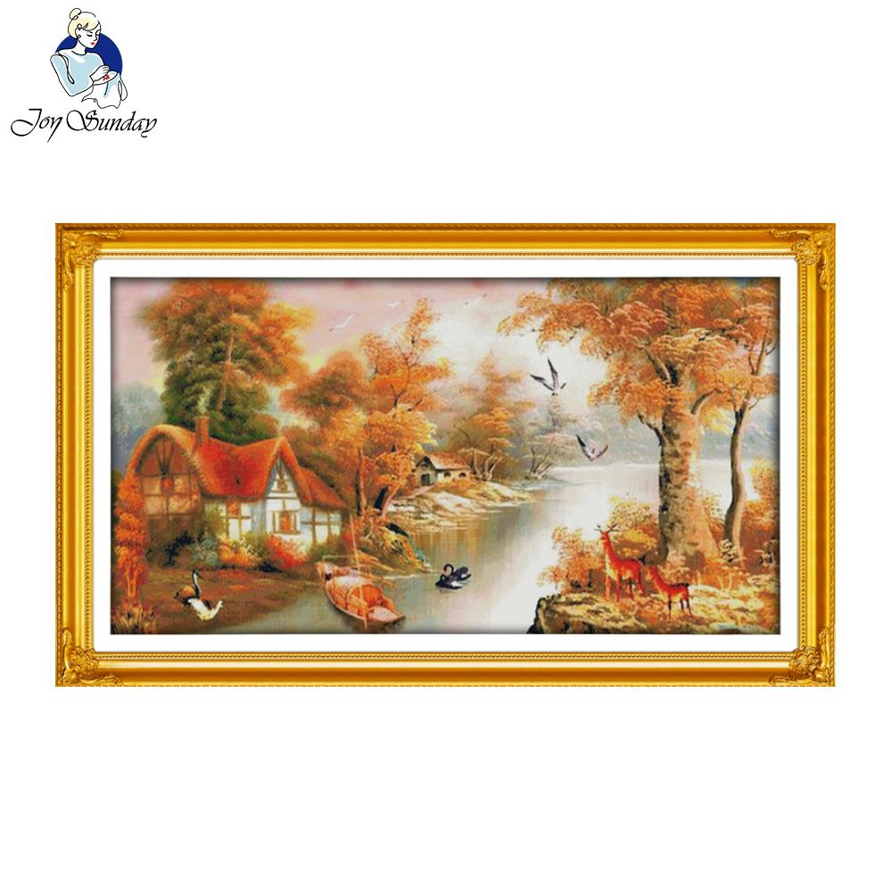 Joy Sunday With mountain and river chinese Stitch DIY Cross Stitch Sets For Embroidery Kits Stamped Counted Cross-Stitching
