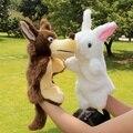 Bebé entre padres e hijos cumpleaños de peluche de juguete regalo suave animal marioneta de mano de la noche cuento antes de dormir rabbit tool & wolf 2 unids/set envío gratis