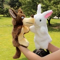 Parent-child baby plush toy birthday gift soft animal hand puppet night bedtime story tool rabbit & wolf 2pcs/set free shipping