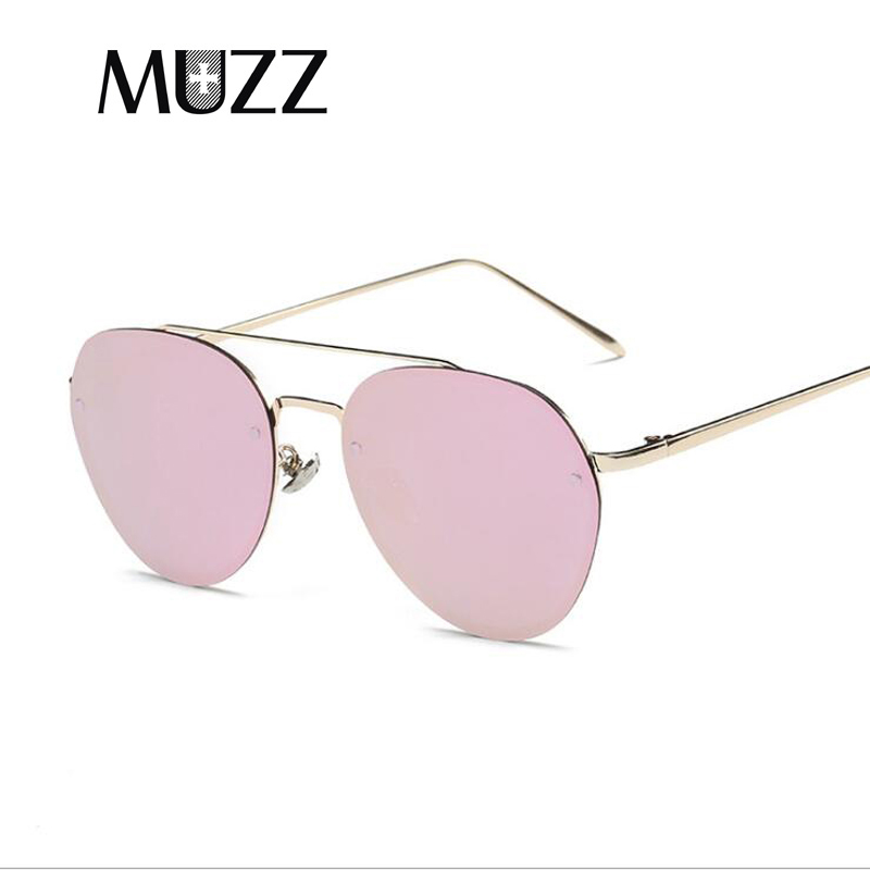 cc1a895d852 MUZZ 2018 New Fashion Brand Designer Pilot Oval Sunglasses Women Men  Aviation Metal Frame Mirror Sun