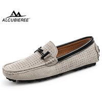 ALCUBIEREE Brand British Style Moccasins Mens Summer Hollow Breathable Loafers Men Casual Non slip Driving Shoes Big Size 45 10