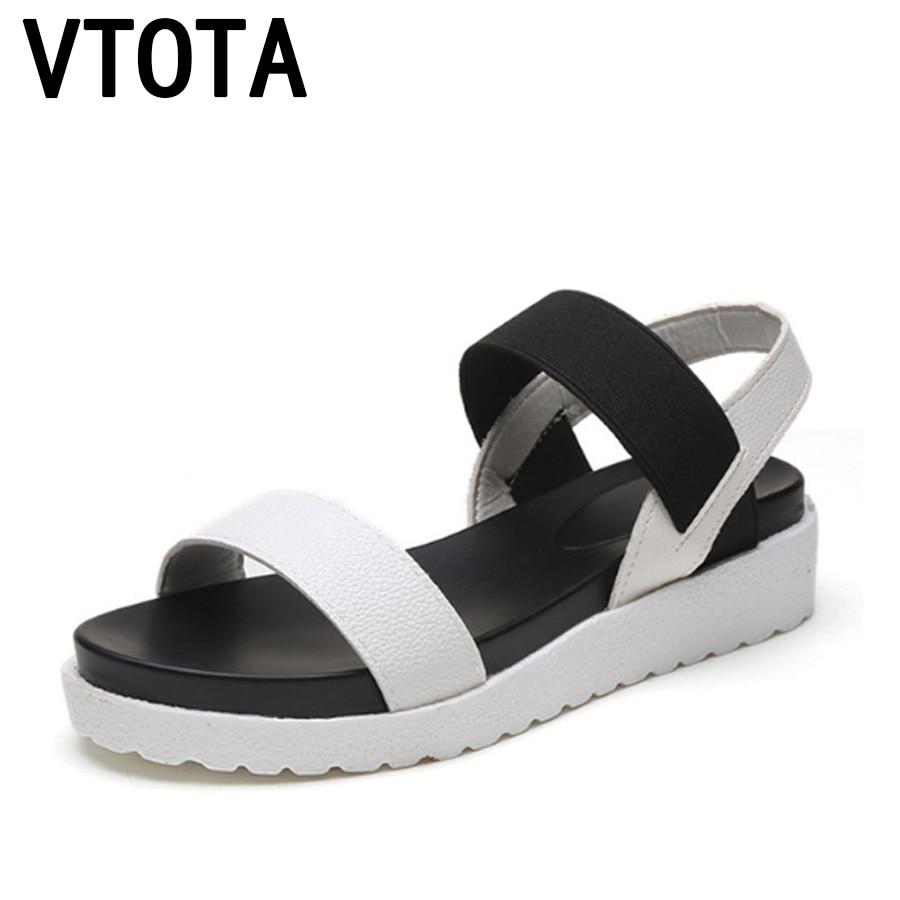 купить VTOTA Women Sandals 2018 Peep Toes Slip On Flat Roman Sandals Black Sandalias Mujer Women Summer Shoes Pu Ladies Shoes G70 по цене 643.26 рублей