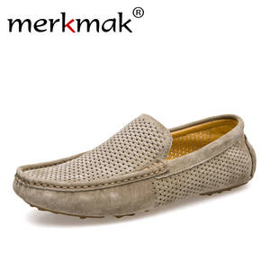 Summer Shoes Flats Moccasins-Holes Men Loafers Casual Fashion Genuine-Leather Mens New