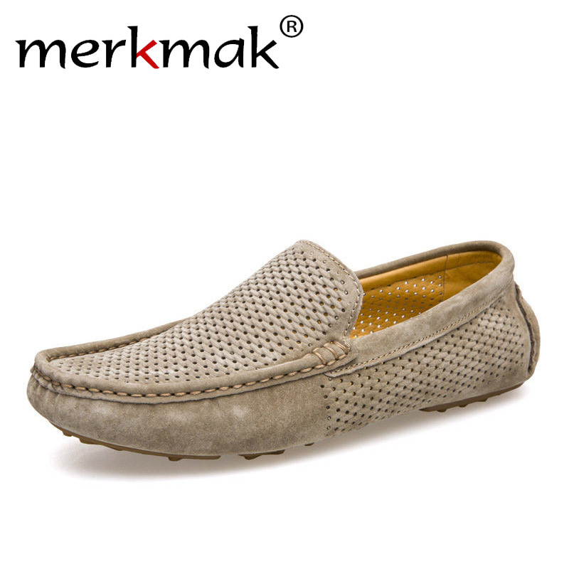 New Men Loafers Casual Summer Shoes Fashion Genuine Leather Slip On Driving Shoes Soft Moccasins Holes Comfort Light Mens Flats