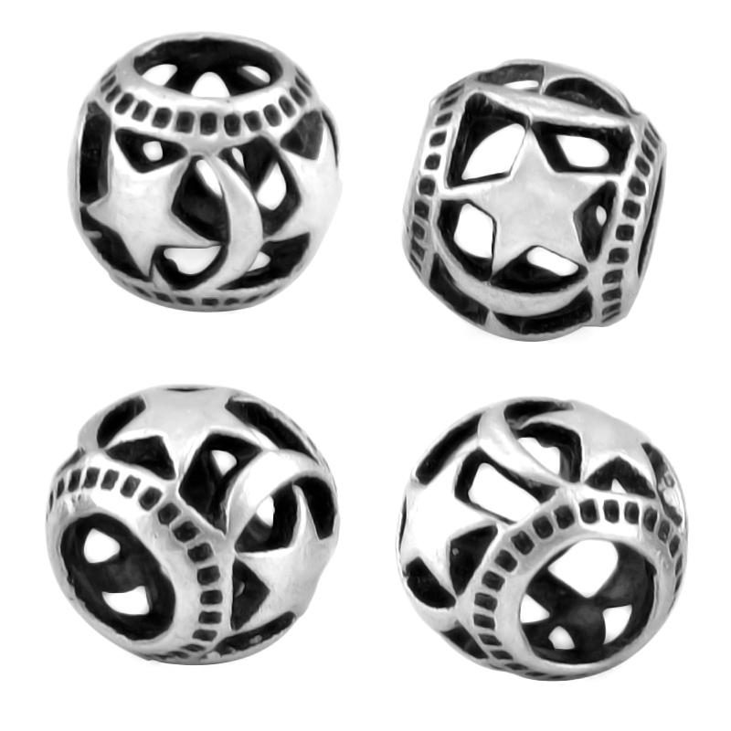 KINGS FAITH 2018 New Arrival Silver Color Hollow Out Moon Stars Bead Fit pandora Charms Bracelets DIY Jewelry Making,SPB124