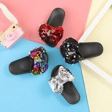 Летняя детская одежда с бантом; сандалии и шлепанцы; детские тапочки; Нескользящие тапочки с мягкой подошвой