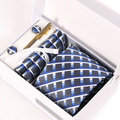 new man blue interview gravata male mariage necktie silk formal business kravat gent plaid wedding cufflink hanky neck tie set