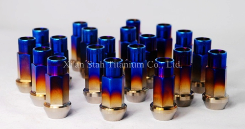 20pcs/lot Titanium TC4 GR5 Open Ended Lug Nut  12*1.25 / 12 *1.5 45mm Long For Car Wheel Rim