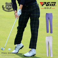 Pgm Men Plaid Golf Clubs Ball Pants England Style Soft Golf Trousers Male Straight High Elastic Quick Dry Long Pants D0488