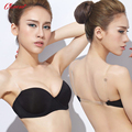 2016 New Women's Fashion Half Cup 1/2 Cup Strapless Brassiere Push Up Sexy Bra for Wedding Dress with Transparent Strap