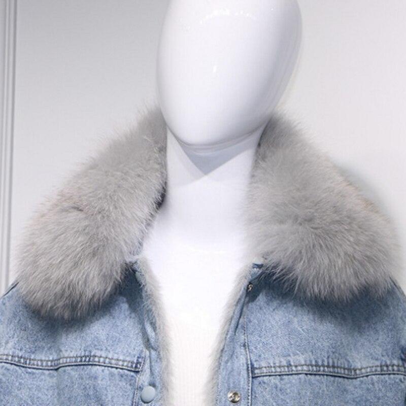2019 coréen grandes poches réel fourrure de renard col Denim vestes femmes mode hiver chaud polaire coton court Jeans manteaux Streetwear - 5