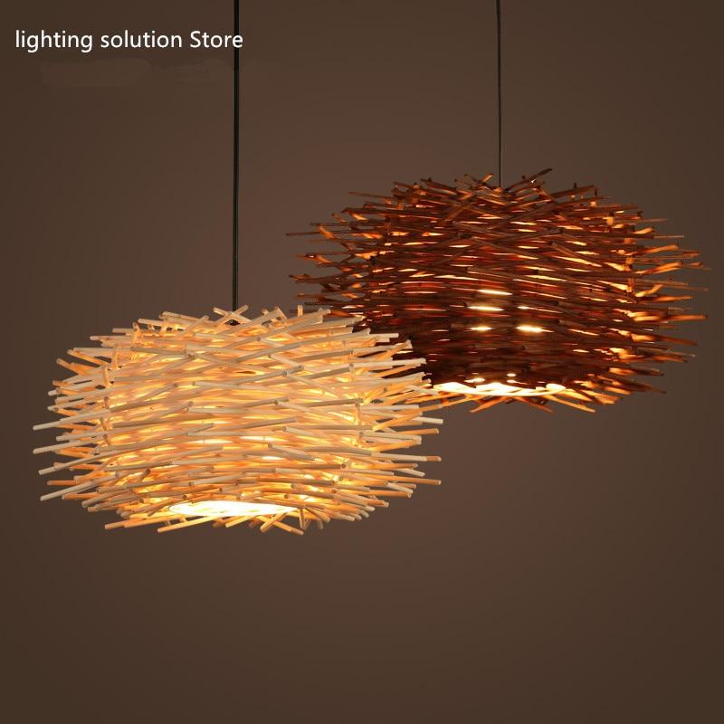 DemüTigen Nordic Handgewebte Cany Kunst Kreative Lampe Holz Lampen Beleuchtung E27 Neuheit Nest Vogelkäfig Pendelleuchten Freies Verschiffen