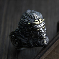 925 Sterling Silver Mens Rings The Monkey King Quest for the Sutra Vintage Thai Silver Big Rings For Men