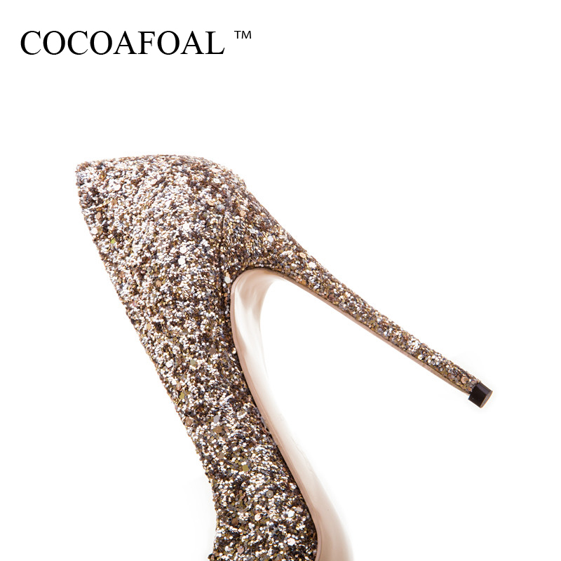 COCOAFOAL Woman Sexy Purple Shoes Plus Size 33 - 43 Golden Stiletto Party Wedding Silver Pumps 12 CM Ultra High Heels Shoes 2018