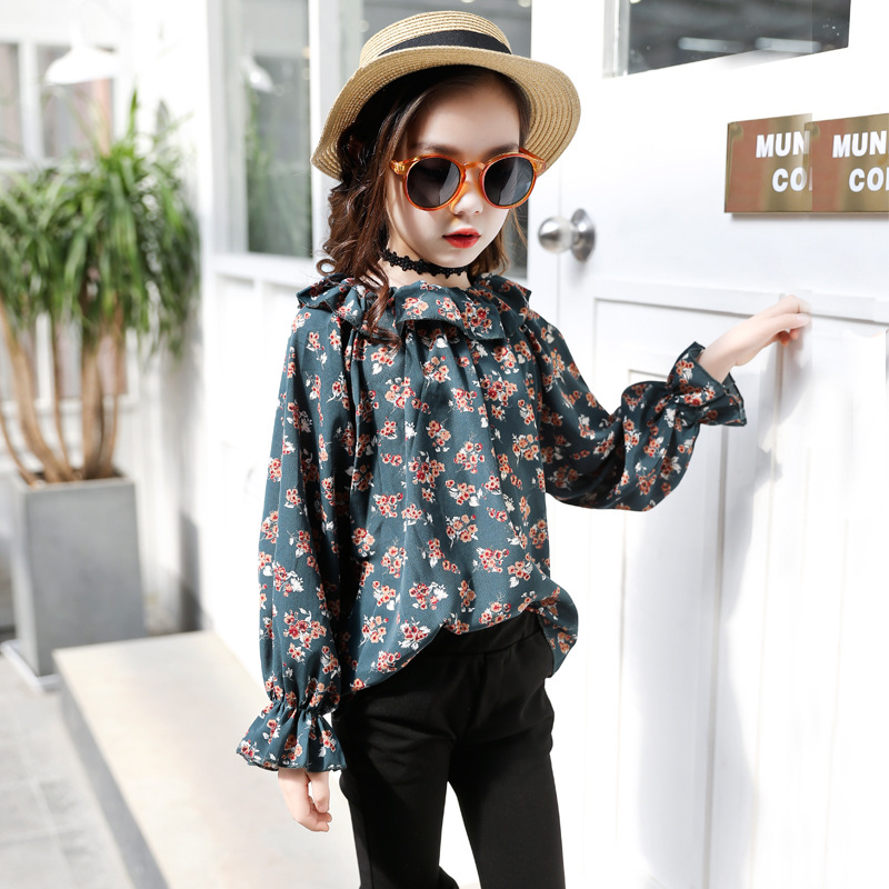 Autumn Teenage Girls Clothing Set Long Sleeve Floral Blouse + Pant 2pcs Kids Clothes Back To School Outfits 9 10 11 12 13 Years ruched sleeve dolphin hem floral blouse