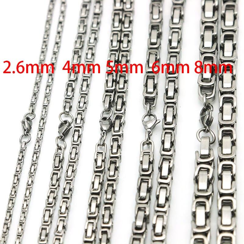 5 pièces nouveau Style 2.6mm 4mm 5mm 6mm 8mm hommes chaîne ton argent 316 acier inoxydable 22 pouces byzantin boîte lien collier - 2