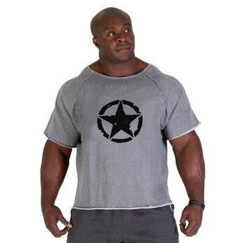 fitness men T-shirt  2019 Summer fitness men  Print bodybuilding wear shirt Brand  vest   Plus Size Rag tops T-shirt 2
