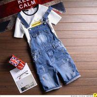 จัดส่งฟรีชายJumpsuitผ้ายีนส์สั้นสีฟ้าหลวมกาง