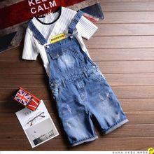 Бесплатная доставка мужской джинсовый комбинезон короткий синий Джинсовые комбинезоны Мужчины Проблемные рваные шорты на подтяжках джинсовые шорты 031501