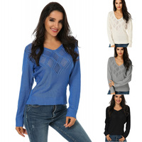 S 3XL ZANZEA Women Pullovers Sweater Autumn Casual V Neck Hollow Out Long Sleeve Tops Sweaters