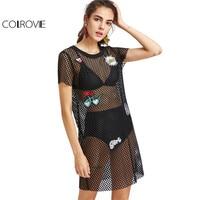 COLROVIE Lovely Patch Detail Fishnet Dress Summer Beach Boho Dress Women Mesh Short Dress Straight Fashion