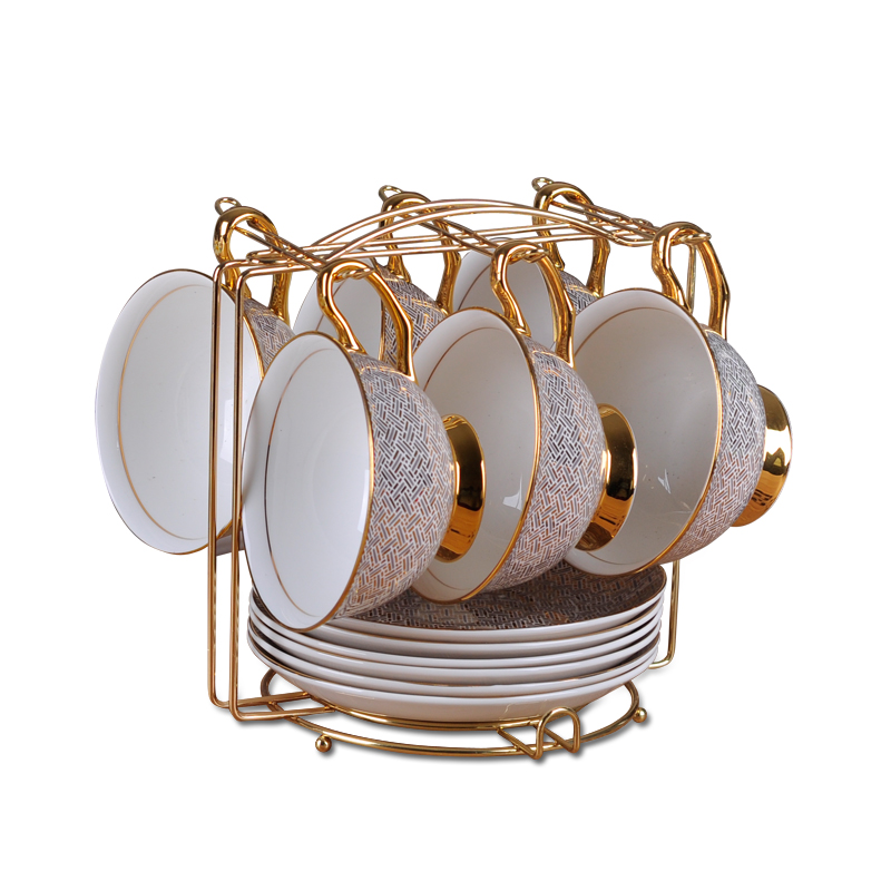 1Set High Grade European Gold Plated Ceramic Bone China Porcelain Cappuccino Afternoon Coffee Tea Cup Mug Saucer Set Coffee Rack