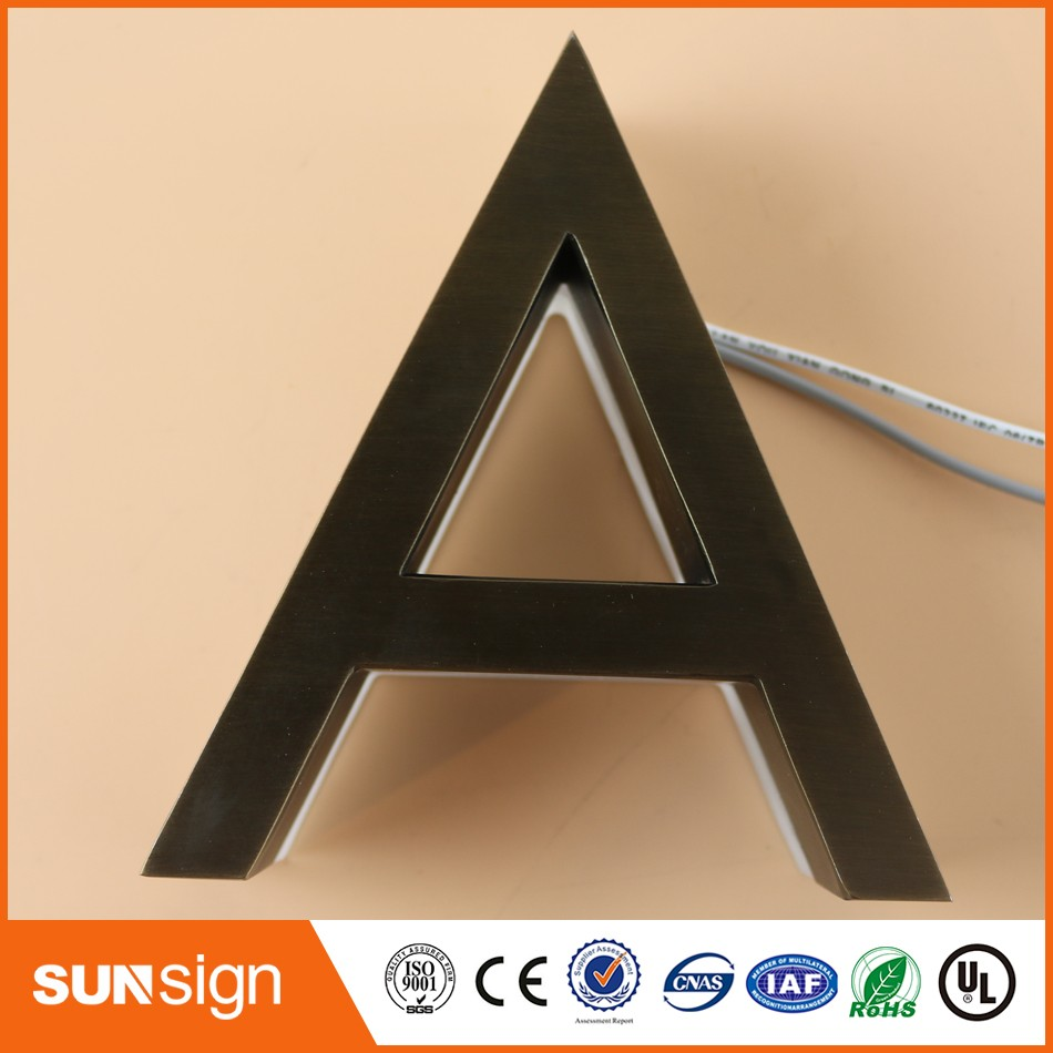 Steel Letters For Signs Custom 3D Led Backlit Brushed Stainless Steel Letters Business