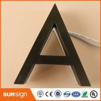 Custom 3D LED Backlit Brushed Stainless Steel Letters Business Signs For Outdoor Advertising Customized
