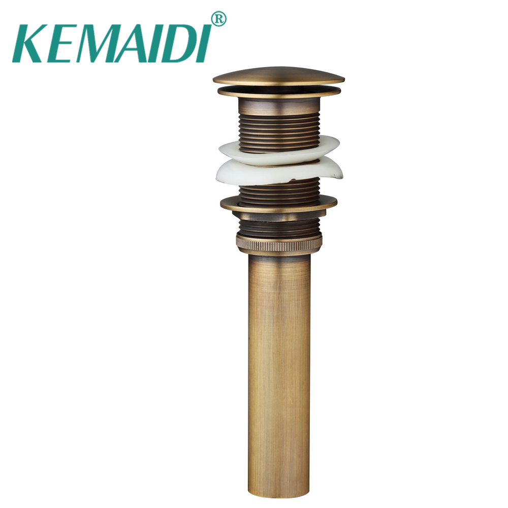 KEMAIDI Drain Bathroom Basin Waste Pop Up Waste Vanity Vessel Sink Drain Without Overflow Antique Brass Style