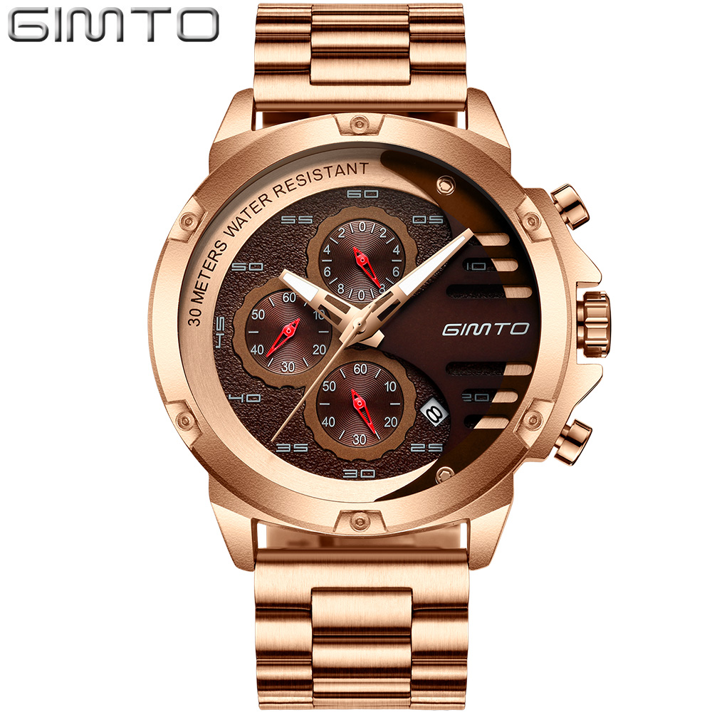 Watch Men GIMTO Luxury Brand Sports Mens Watches Steel Quartz Waterproof Clock Military Male Gold Wrist Watch Relogio Masculino 2018 amuda gold digital watch relogio masculino waterproof led watches for men chrono full steel sports alarm quartz clock saat