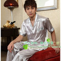 Promotion Free Shipping Summer short-sleeve male faux silk sleepwear teenage set plus size lounge