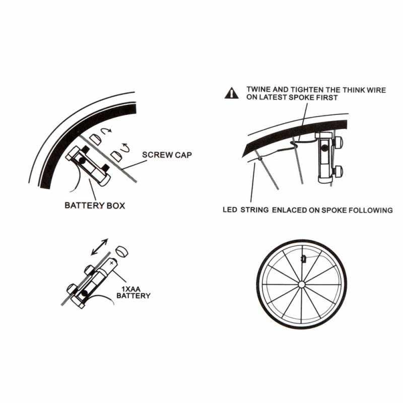 20 LED vélo VTT lumières éblouissantes cyclisme a parlé roue lampe vélo accessoires lampes LED pour vélo
