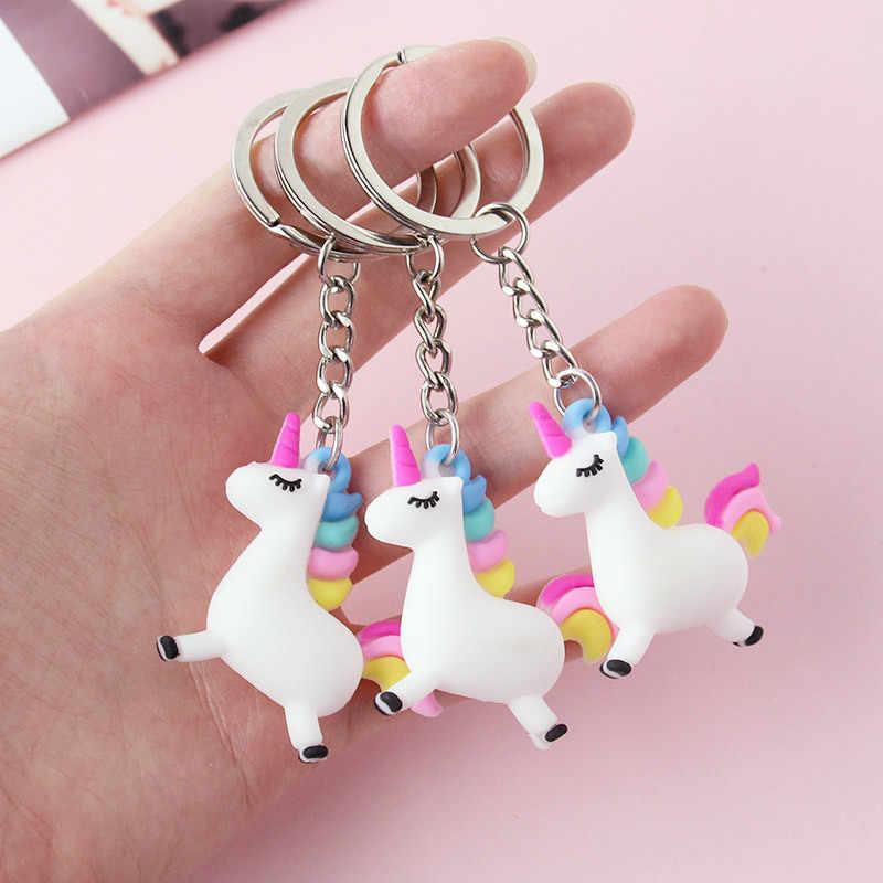 2019 śliczne anioł jednorożec breloki koń dla dzieci lalki zwierząt brelok do kluczy kobiet torba wisiorek klucz pierścień para brelok samochodowy biżuteria