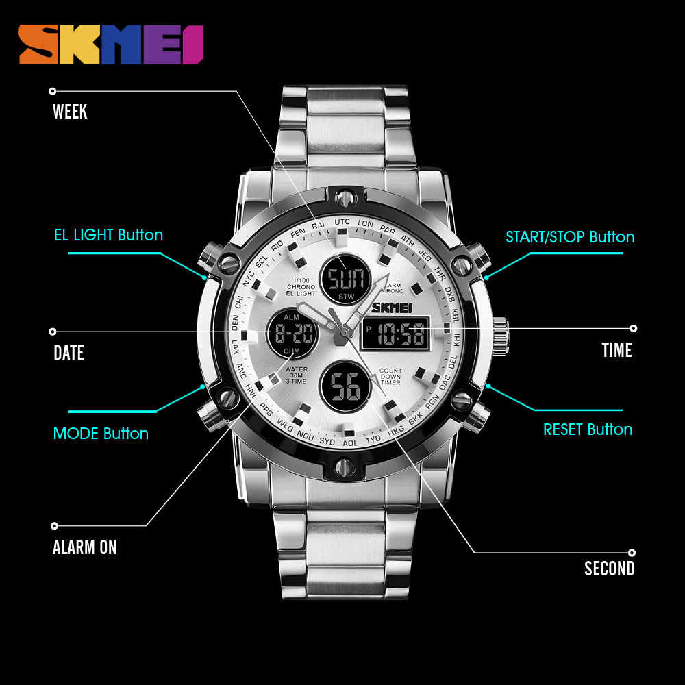 fdb51ecbe267 ... SKMEI hombres reloj de cuarzo de lujo deporte Digital Reloj impermeable  Masculino relojes de acero inoxidable ...