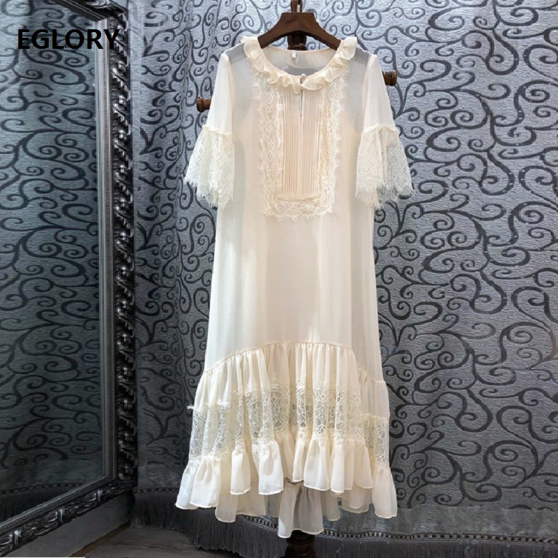 New Plus Size Summer Dress 2019 High Quality Women O Neck Hollow Out Lace Patchwork Straight Loose Silk Dress Green Apricot