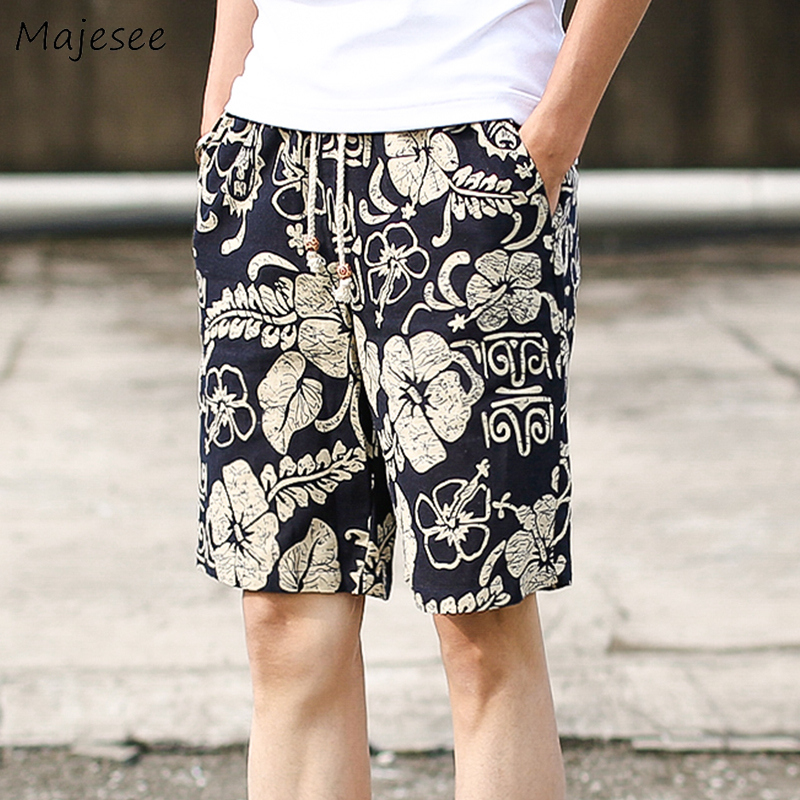 Board Shorts Men Floral Printed Summer Beach Swimsuit Loose Elastic Waist Lace Up Korean Style All-match Leisure Mens Surfing