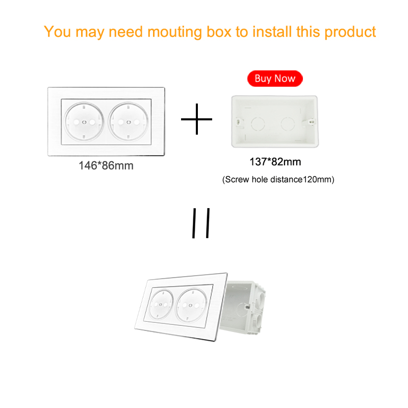 16A EU Socket And 2 Gang Wallpad 146*86mm BS CE White Crystal Glass European Socket And  2 Gang Switch Free Shipping