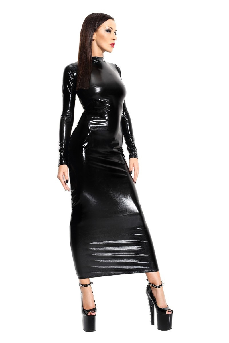 Women Sexy Black Faux Leather Wet Look Open Back Backless Long Sleeves Erotic Fetish Long Dress Maxi Dresses