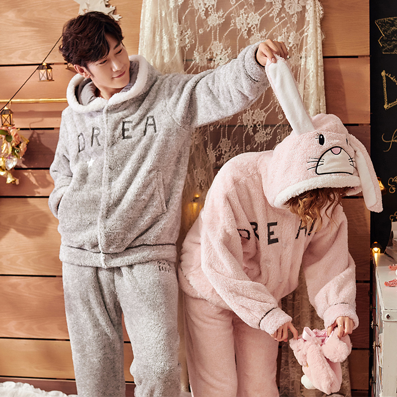 Couple Matching Pajamas Flannel Rabbit Hooded Stitch Home Pijamas Suit Letter Embroidered Men And Women Warm Pyjama Set