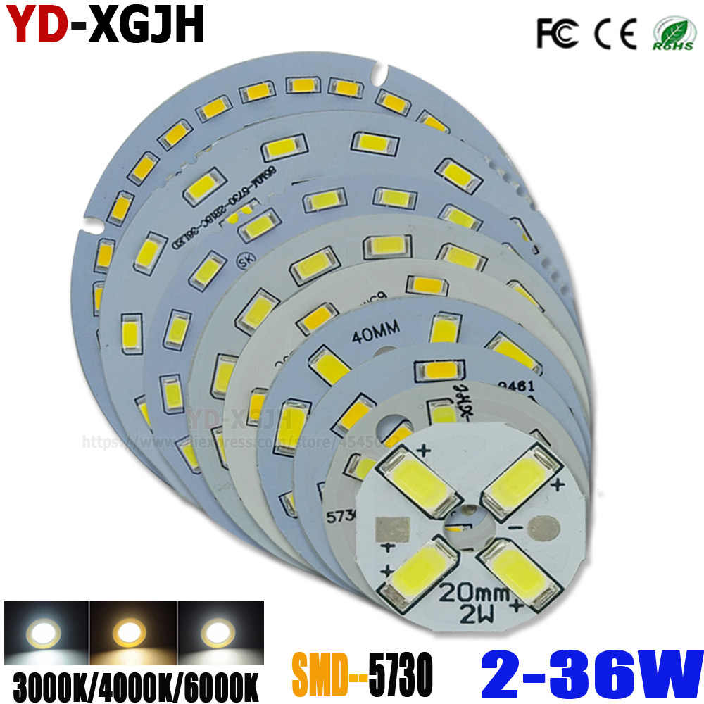 SMD5730 LED PCB Light Source Round Aluminum Lamp plate 2 3 5 7 9 12 15 18 21 24 30 36W Diy Bulbs Retrofit lamp board accessorie