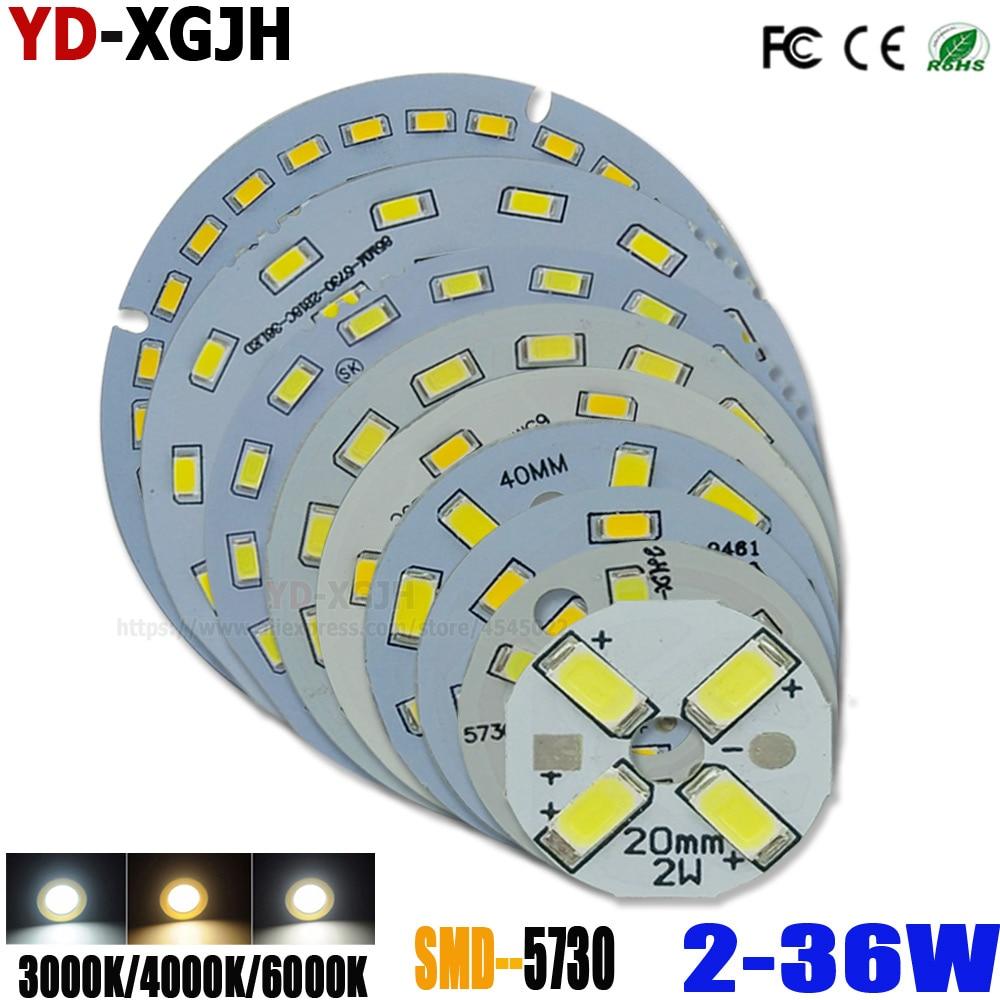SMD5730 LED PCB Light Source Round Aluminum Lamp Plate 2 3 5 7 9 12 15 18 21 24 30 36W Diy Bulbs Retrofit Lamp Board Accessorie