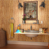 Chinese Style 3D Imitation Bamboo Wallpaper Living Room Farmhouse Restaurant Tea House PVC Waterproof Wall Paper