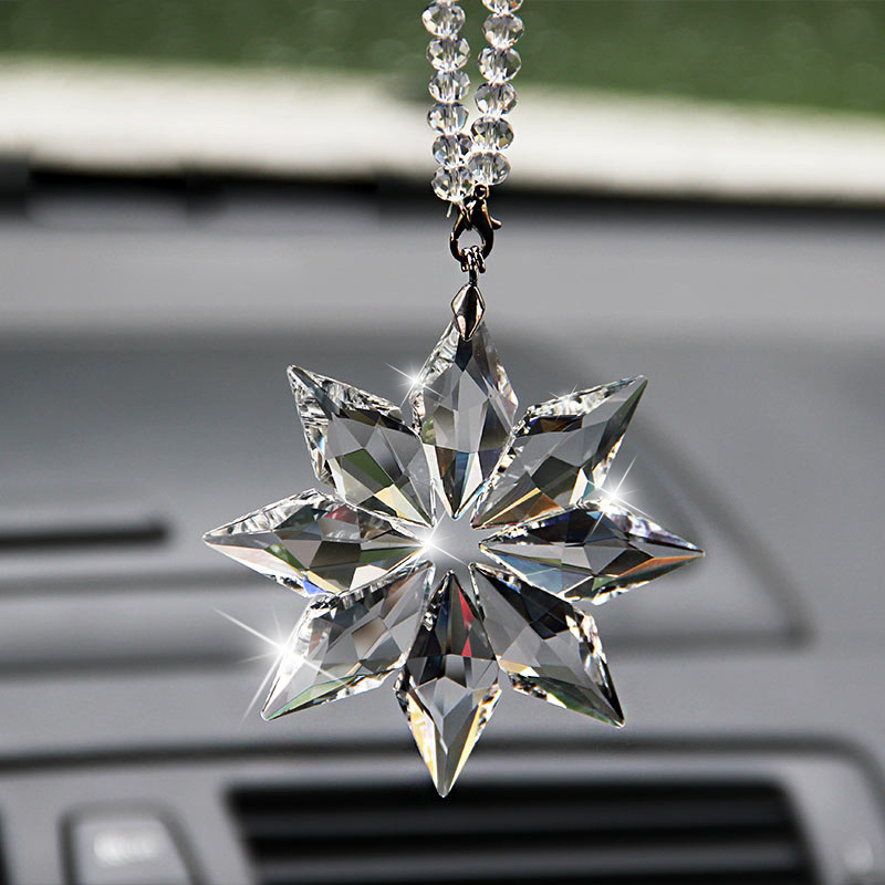 1 Pcs Car Accessories Transparent Crystal Snowflakes Ornaments Rearview Mirror Car Pendant